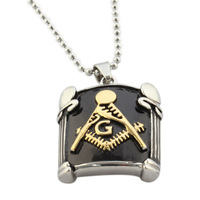new design men's masonic pendant necklace vintage style gold/steel color stainless steel cool pendant p-032