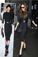 New Autumn Quality Celebrity Victoria Beckham Dresses Long Sleeve Black Dresses S M L XL