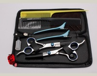 Free Shipping! 6.0  Inch Hair Care & Styling Professional Beauty Scissors and Thinning Scissor  +2 Combs+Nice Bag+Clips+Cape