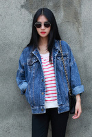 Classic vintage oversize vintage denim jacket female loose water wash denim outerwear female