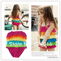 Fashion summer 2014 female child ruffle skirt style swimsuit triangle
