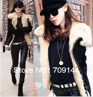 HongKong Free Shipping New Large Lapel Motorcycle Coat Lamb Wool Fur Collar Warm Jacket  Women Winter Coat M L XL
