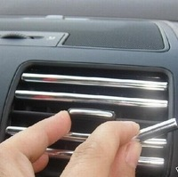 Auto Supply bright Silver Air Condition Outlet Decoration Strips 6pcs/lot Car Accessories Interior Decoration Free Shipping