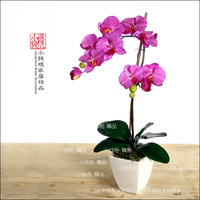 Perfect supplement - - 2 fork highly artificial orchid big ceramic vase flower arrangement
