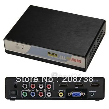 USB CVBS YPbPr VGA to HD HDMI Converter Adapter Media Player Box for PC 1080P