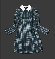 Retro Designer Dresses Women Long Sleeve Casual Dresses Victoria Beckham 2013 Autumn Plaid Dresses