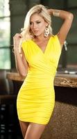 2014 new yellow black miniskirt Sexy women's dress Fashion nightclub clothes Free shipping