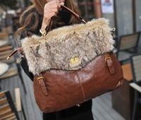 Free Shipping 2013 Fashion Women Lady Faux Fur Messenger Shoulder Bag Handbag Tote Bags f412