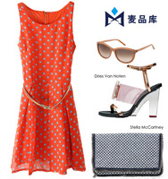 D418 summer new round neck sleeveless chiffon Ladies Polka Dot Dress   high street cute dress women