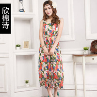 Cotton summer sweet women's 2013 fancy sleeveless slim waist chiffon one-piece dress
