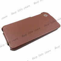 Free Shipping 100% Original HOCO Duke Real Genuine Leather Flip Sleep wake Case Cover Skin for Apple iPhone 5 5g 5th Brown Color