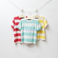 Free shipping Children's clothing male female child blue dog super soft fabric stripe parent-child t-shirt  wholesale