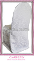 New Arrival Round Top White Damask Chair Cover For Banquet and Hotel