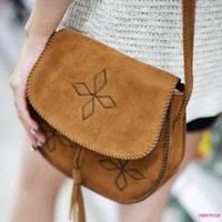 2012 bohemia handmade embroidery faux leather tassel buckle vintage small messenger bag women's bag