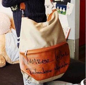 Canvas women's bags letter messenger bag backpack double-shoulder women's handbag