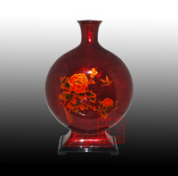 2014 New Arrival Sale Folk Art China Flower Foochow Bodiless Lacquerware Wood Unique Traditional Technology Gift Peony Vase T-8