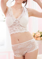 new sexy white deep V lace bra set three-dimensional rose push up women underwear bow bra + briefs
