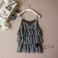 Free shipping Free shipping Sweet print small vest ruffle vest spaghetti strap chiffon shirt w014  wholesale