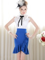 Free Shipping Pink Doll New Arrival Holiday Sale Pure Color High Waist Waving Falbala Pencil Skirts