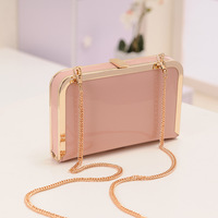 New 2014 fashion metal chain shoulder bag japanned PU leather day clutch candy color small bag Hot sell 5 colors evening bag