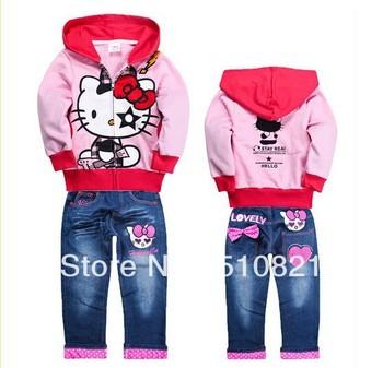 2013 new arrival hello kitty girl coat+pants set child children's clothing demin jeans sets sweatshirt hoodies cotton suit