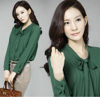 2014 new Work wear plus size blouse bow long-sleeve chiffon shirt