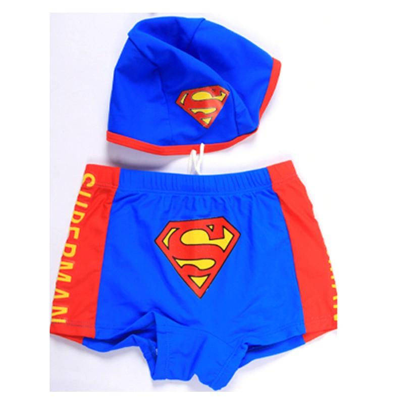 Thomas thomas super man child split swim trunks baby boy swimming trunks male child swimwear swimming cap(China (Mainland))