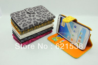 Free Shipping 1pcs Leopard Pattern Leather Case Cover  for Samsung Galaxy Note II N7100 with Plug-in Card Function