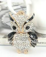 FREE SHIPPING New Arrival Bling Bling Full Crystal Rhinestones Owl Keychain Keyring Charm key ring