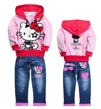 2013 new arrival hello kitty girl coat+pants set child children's clothing demin jeans sets sweatshirt hoodies cotton suit