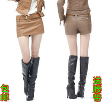 2014 sexy shorts pew leather pants PU culottes water washed leather shorts leather skorts shorts