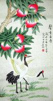 Free Shipping! Original Chinese / Japanese Crane Painting Wall Scroll, Crane Painting Silk Scroll Hanging Wall Art