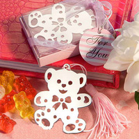 cute bear stainless steel bookmark with pink tassel creative wedding party favor gift
