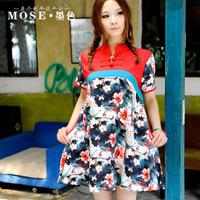 Fresh national trend print women's fluid summer small stand collar flower plate buttons short-sleeve dress