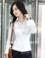 2014 New hot autumn fashion Women Blouse Clothes Casual Career ladies tops Wild OL plus size Slim stretch cotton white shirt