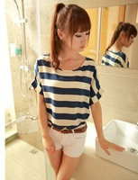 On Sales !!! 2013 summer new style fence stripe print loose Chiffon Casual t-shirt T shirts Blouses+Free shipping