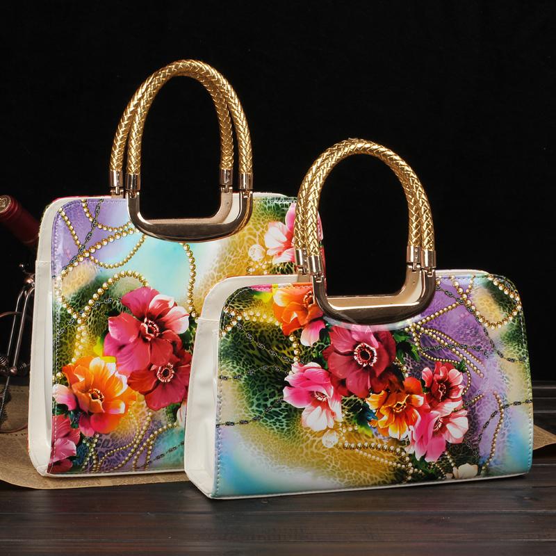 2013 flower print japanned leather bag oil painting shaping women's handbag bags laptop messenger bag(China (Mainland))