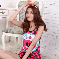Vest cartoon summer DORAEMON 100% cotton sleepwear lounge set