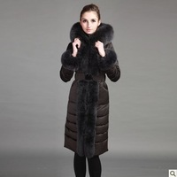 Luxury super white goose down coat slim ultra long fox fur down coat