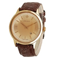 Top brand JULIUS fashion men's watch with simple and cool design genuine leather, calendar, brand watches, good quality