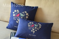 "Free Shipping 2 pcs/lot 18"" 20"" Love Forever Birds Retro Vintage Linen Decorative Pillow Case Pillow Cover Cushion Cover Set"