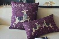 "Free Shipping 2 pcs/lot 18"" 20"" Deer Purple Retro Vintage Style Linen Decorative Pillow Case Pillow Cover Cushion Cover Set"