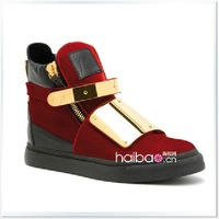 High-top shoes 2013 New Arrival Red endurably metal cowhide platform elevator women's shoes boots gz