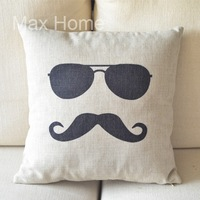 "Free Shipping 18"" Sunglasses & Mustache Retro Vintage Style Linen Decorative Pillow Case Pillow Cover Cushion Cover"