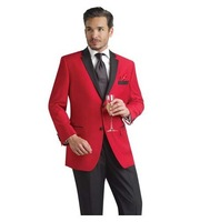 Wedding Tuxedo for Groom Red Tuxedo Jacket with Black Trousers Contemporary Styling /Slim Fit Free shipping T-16 (jackets+pants)