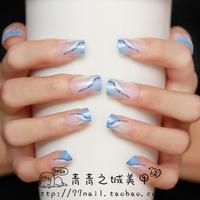 NEW 2014 High Quality Beautiful natural baby blue french Nails/False Nails/Fake Nail/Nail Tips,24 pcs with glue,Free Shipping