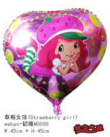 Free Shipping New arrival 18 inches Foil balloon,helium cartoon balloons,Strawberry girl balloons 50 pcs/Lot