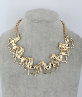 2013 New fashion design gold plated horse statement choker necklace for women costume jewelry, Free shipping