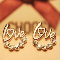 2013 fashion  Rhinestone  shiny  LOVE earrings BE348