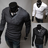 HOT 2013 new men fashion embroidery v-neck letters upset thermal long sleeve T-shirt